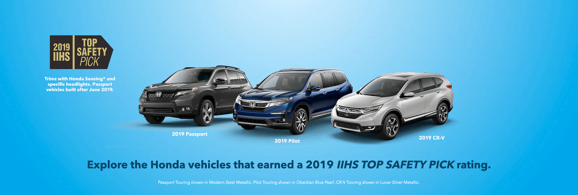 2019 IIHS Top Safety Pick Honda Award Slider