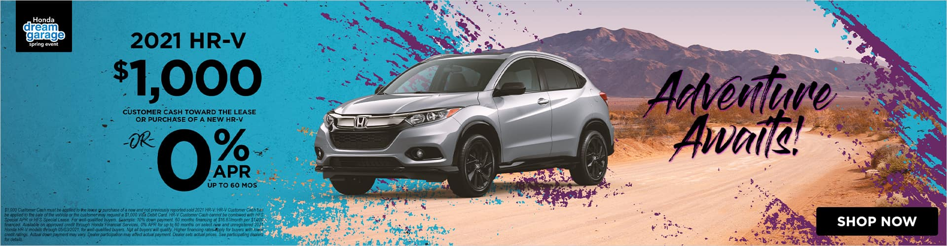 0% APR on the 2021 Honda HR-V