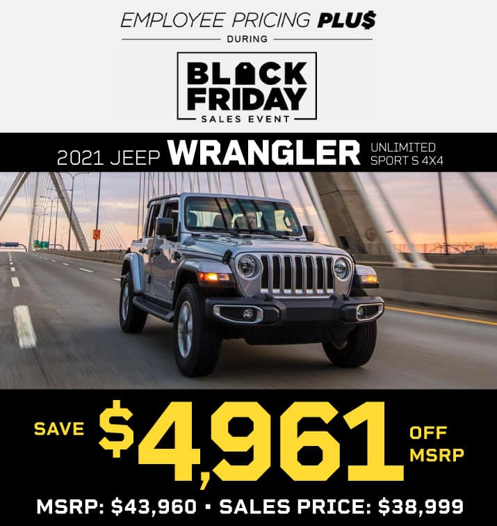 NEW 2021 JEEP WRANGLER UNLIMITED SPORT S 4X4 STOCK # 210036 MSRP $43,960 SALES PRICE $38,999