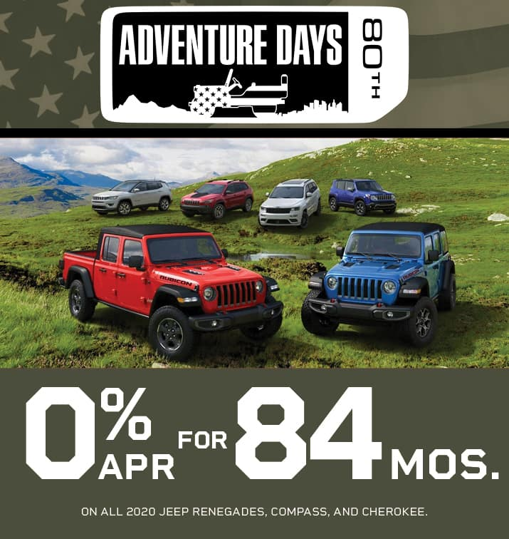 O% FOR 84 MONTHS ON ALL 2020 JEEP RENEGADES,COMPASS,AND CHEROKE