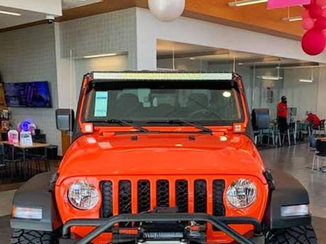 Front of Orange Jeep