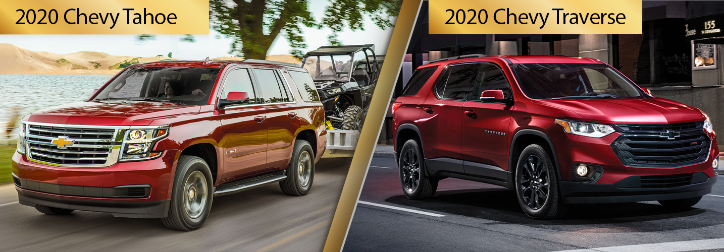 Contrast 2020 Chevrolet Tahoe vs 2020 Chevrolet Traverse