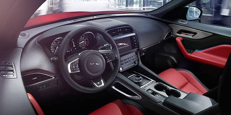 2018 Jaguar F-PACE Interior Front Seating and Dashboard Techology Features