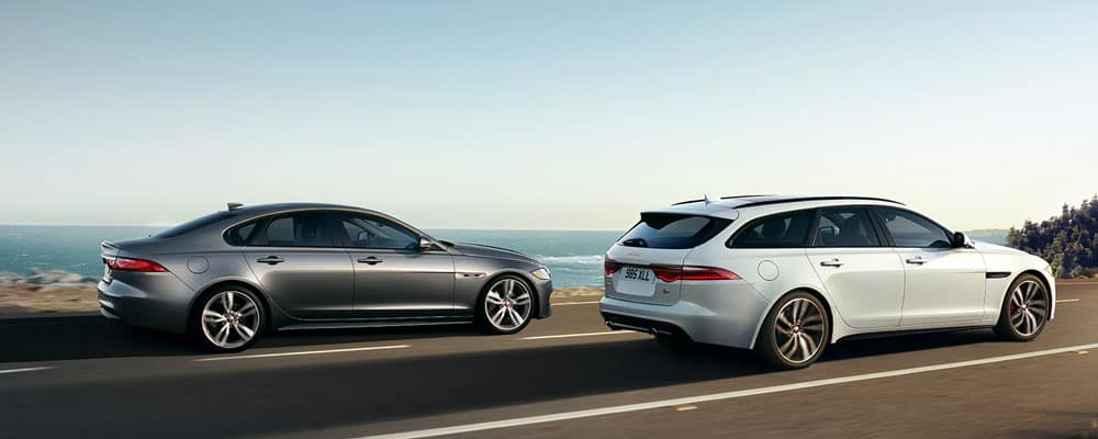 2019 Jaguar XF Two Models Driving on Road