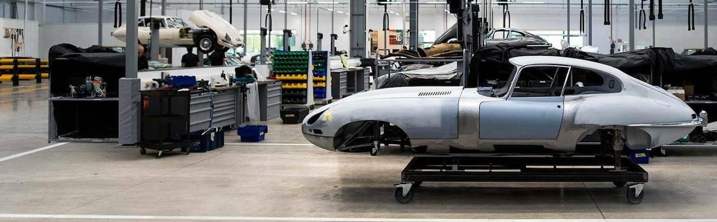 Dismantled classic jaguar car