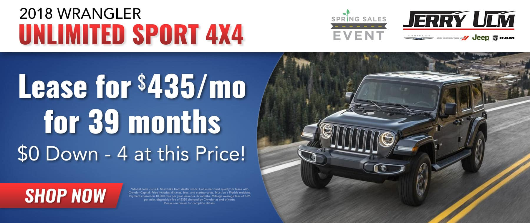 2018 Jeep Wrangler lease special