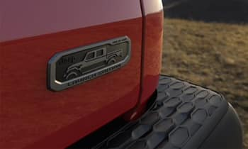 419 emblem on Firecracker Red 2020 Jeep Gladiator Launch Edition
