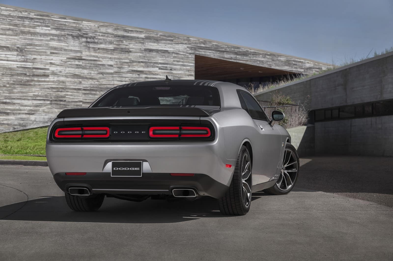 Back of Silver 2019 Dodge Challenger Showcasing Tail Lights