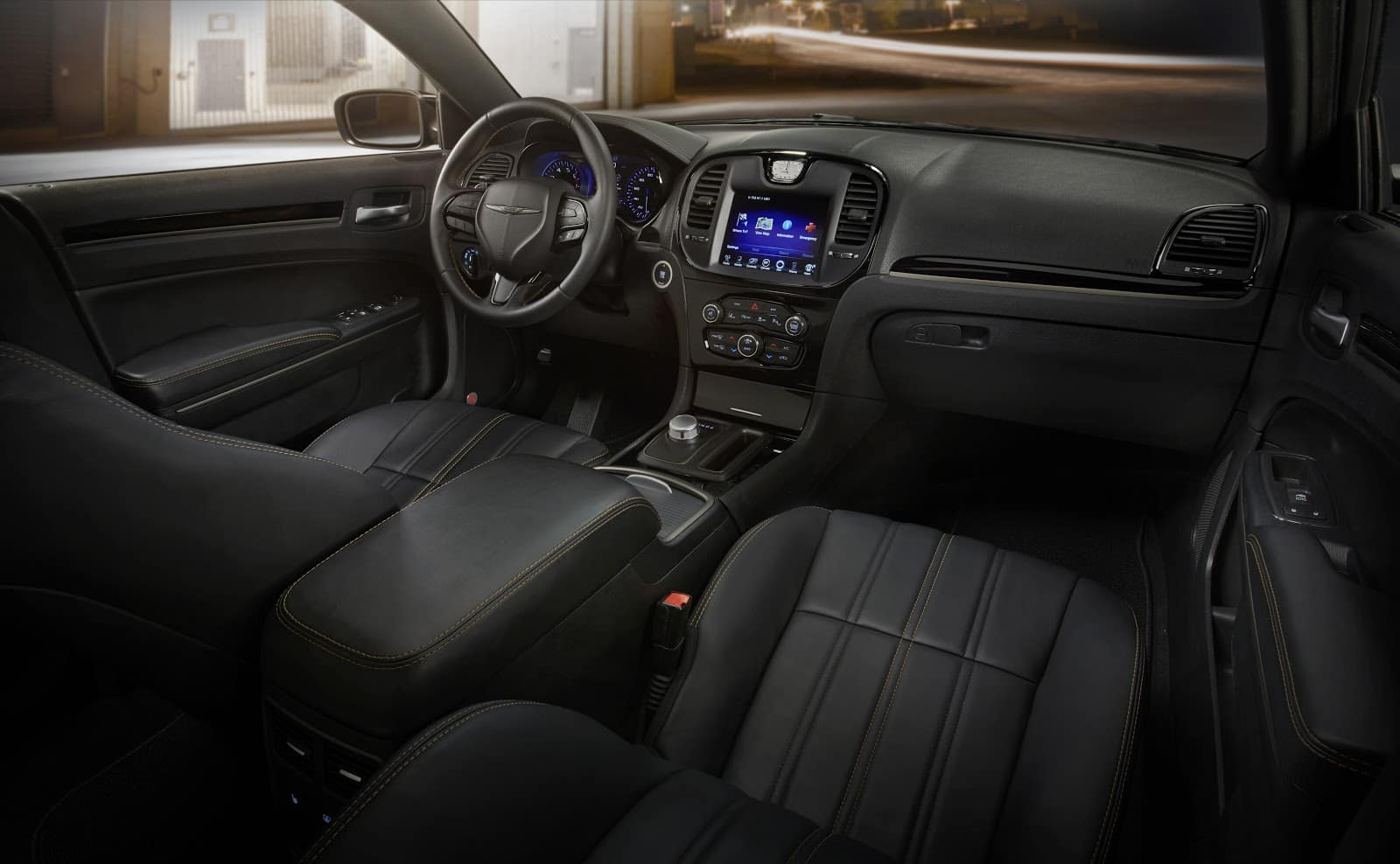 Black Leather 2019 Chrysler 300 Interior From Back Seat View Showing Digital Cluster Display and more
