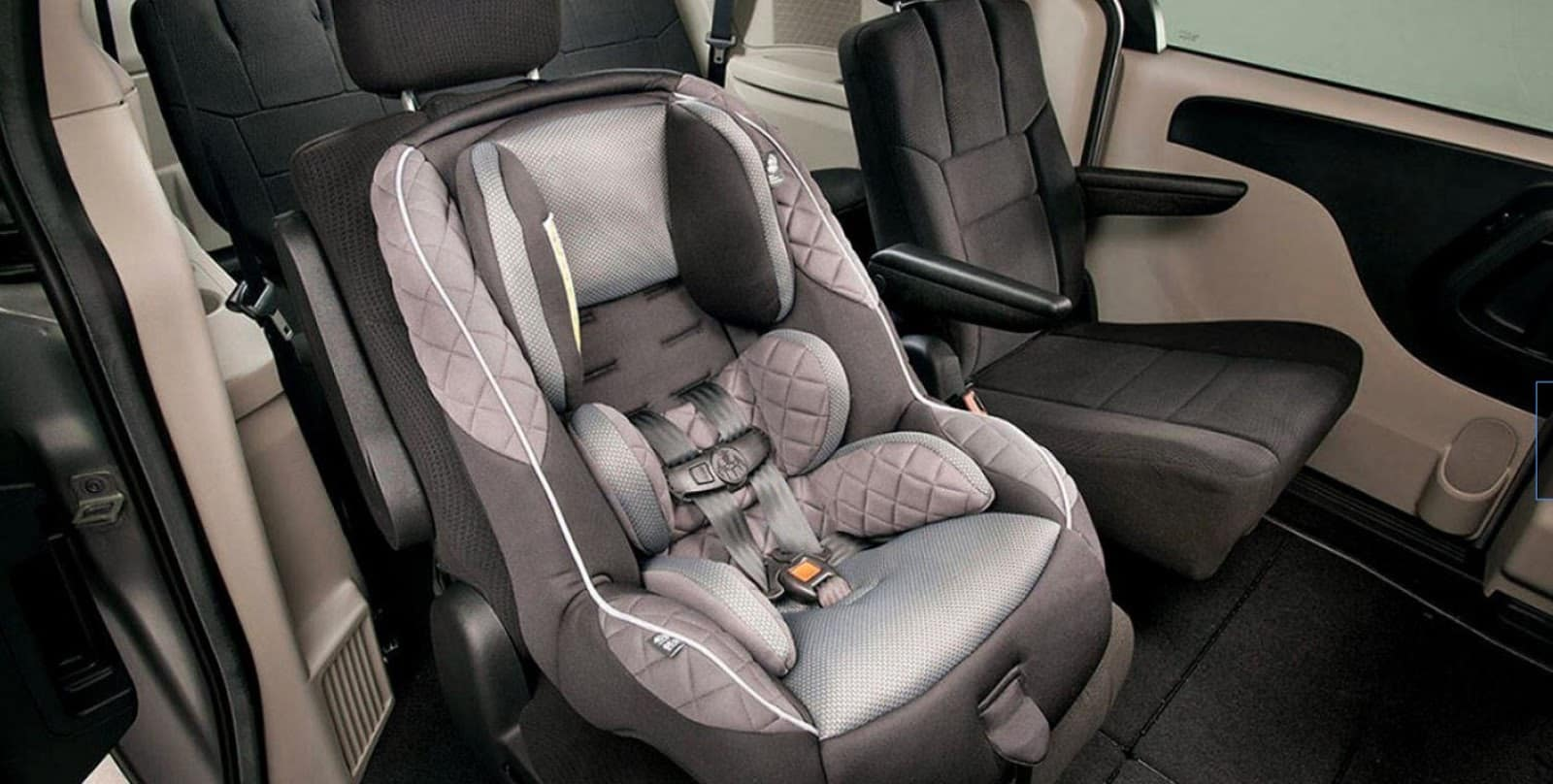 dodge grand caravan car seat capability shown by gray carseat in seat