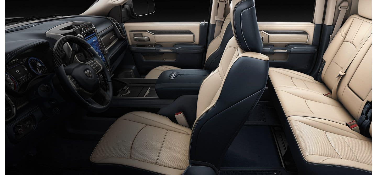 ram 3500 interior in tan and black leather