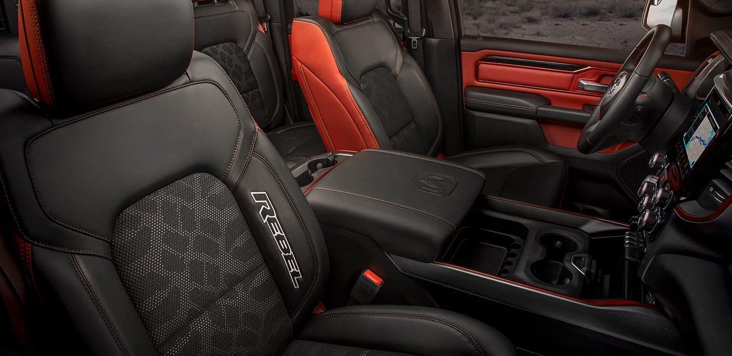 rebel ram 1500 interior black and red leather