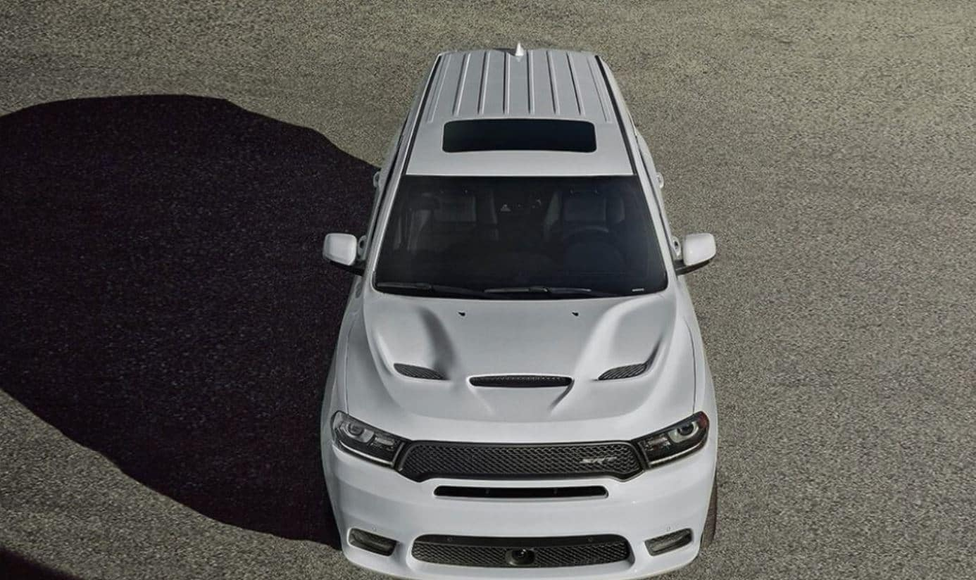 white 2019 dodge durango srt from an aerial view