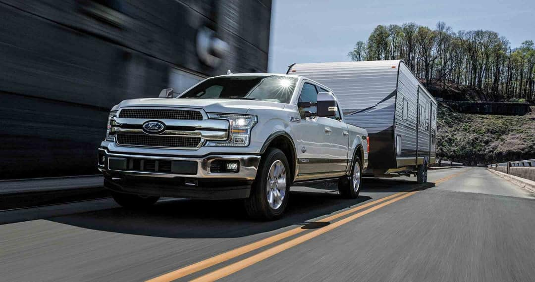 2018 Ford F-150 King Ranch towing a trailer