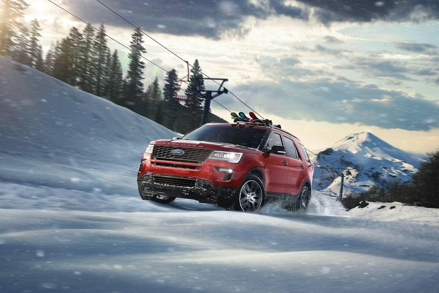 2019 Ford Explorer driving in snow