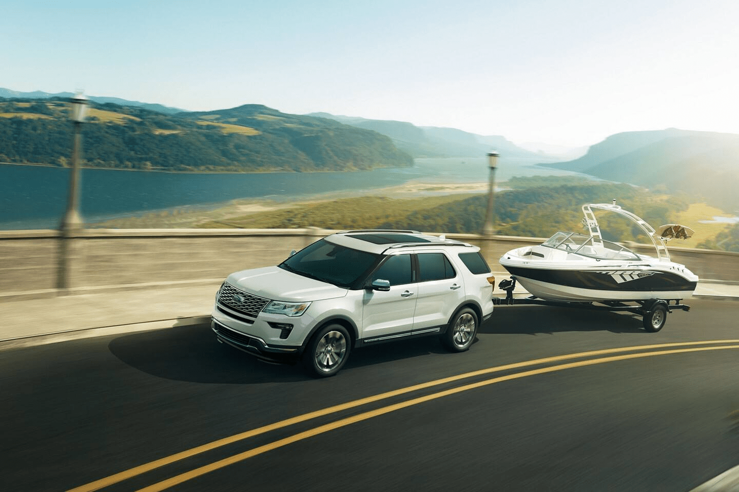 2019 Ford Explorer towing a boat