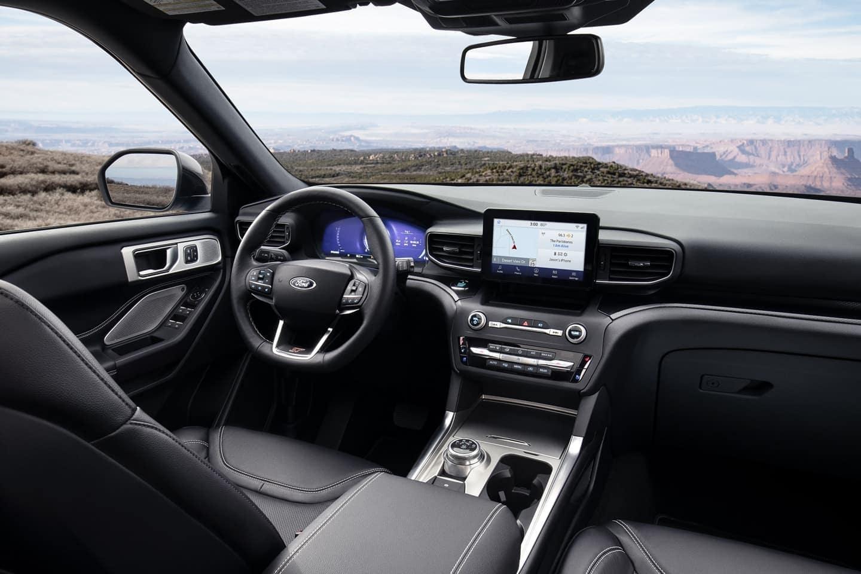 2020 Ford Explorer interior in black leather