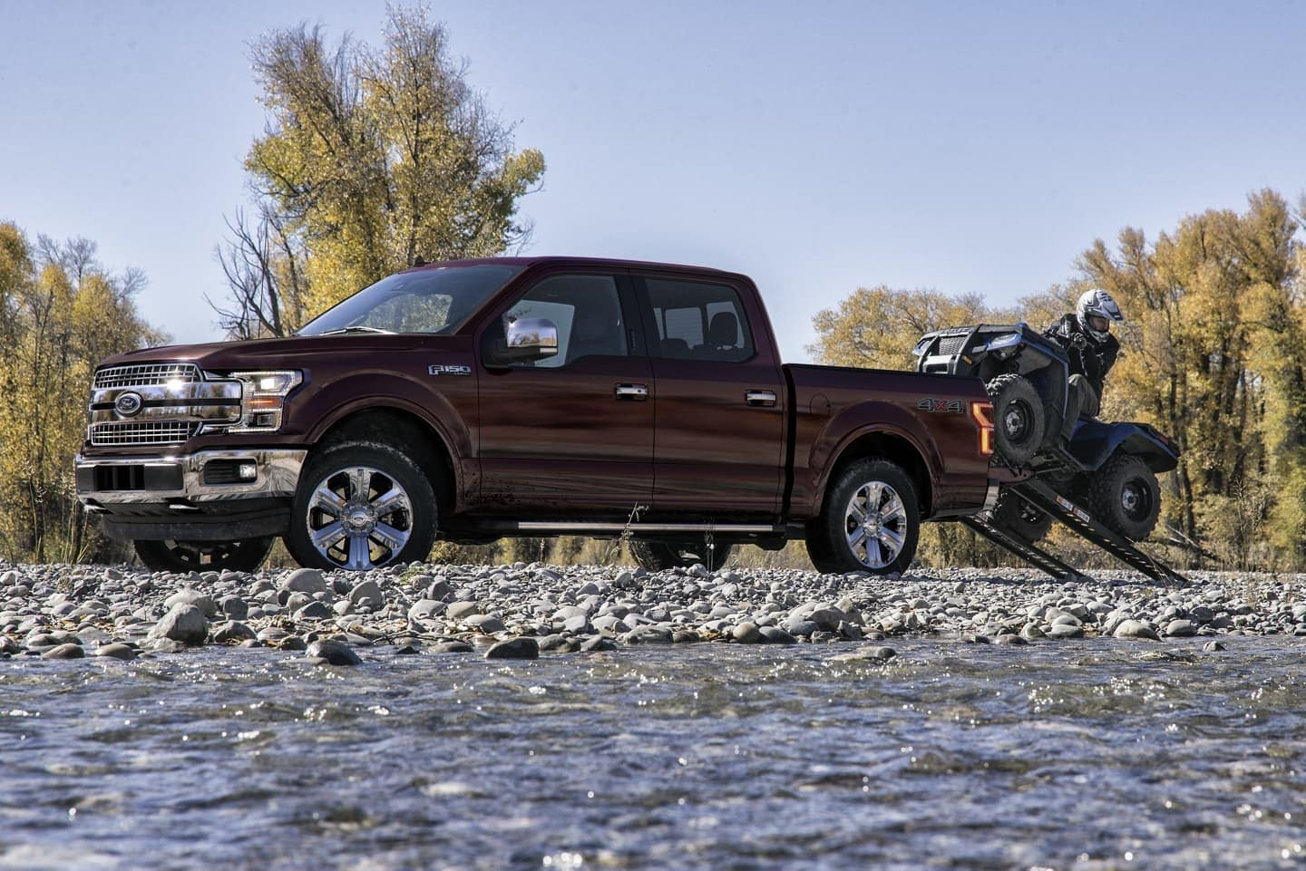 2020 Ford F-150 towing an RTV