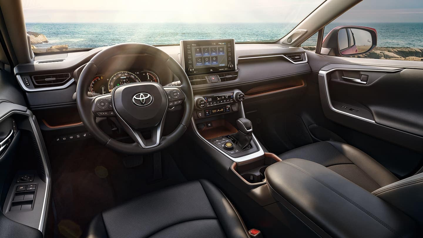 2019 Toyota RAV4 interior dashboard features in black leather