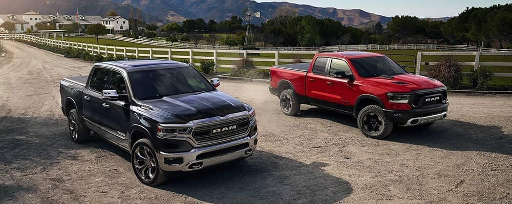 Two 2019 RAM 1500 Trucks on the Ranch