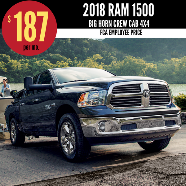 2018 Ram 1500 Crew Cab Big Horn V6 4x4 for $220 per month