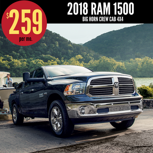 2018 Ram 1500 Crew Cab Big Horn V6 4x4 Lease for $259