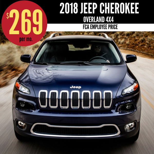 2018 Jeep Cherokee Overland 4X4 for $269 per month