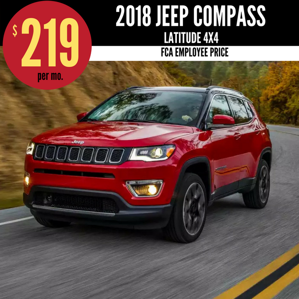 2018 Jeep Compass Latitude 4X4 for $219 per month