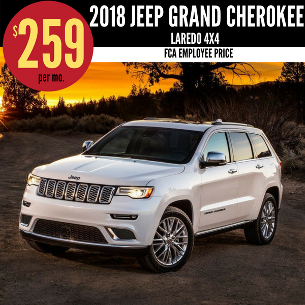 2018 Jeep Grand Cherokee Laredo 4X4 for $259 per month