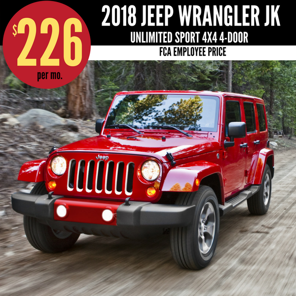2018 Jeep Wrangler JK 4DR Unlimited Sport 4x4 for $226 per month