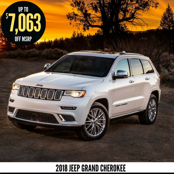 Up to $7,063 off a new 2018 Jeep Grand Cherokee