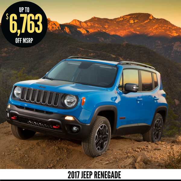 Up to $6,763 off a new 2017 Jeep Renegade