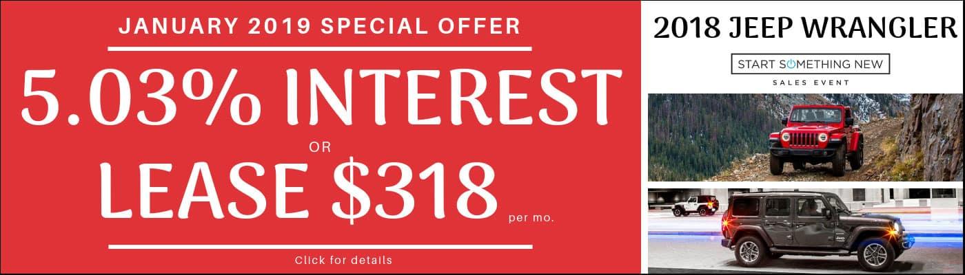 2018 Jeep Wrangler Monthly Deals