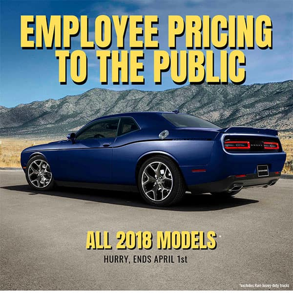 Employee Pricing to the Public on 2018 Models