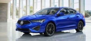 Blue 2019 Acura ILX in well-lit display floor