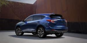 2020 Acura RDX Fathom Blue Pearl Rear Angle HP Slide