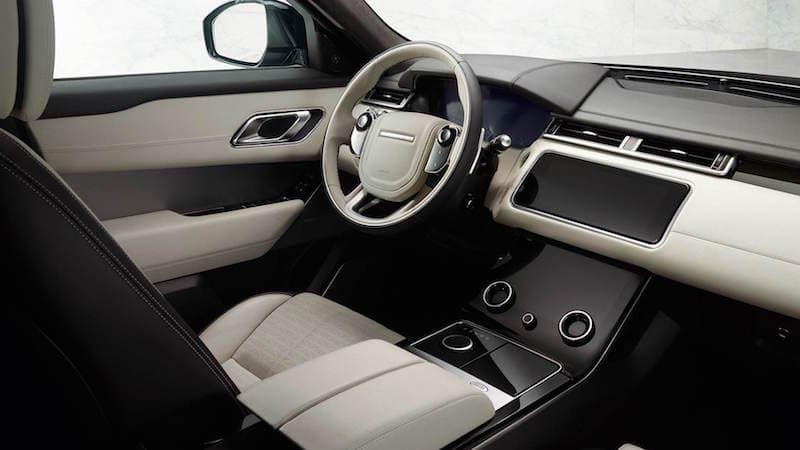 Gray leather Range Rover Velar interior and dashboard