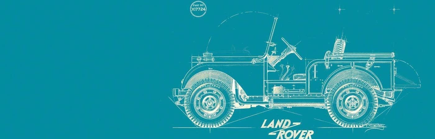 Turquoise Background with Land Rover Sketch