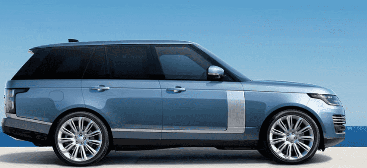 Blue Range Rover from the Side