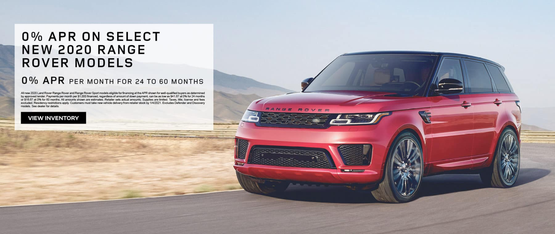 0% APR on Select New 2020 Range Rover Models
