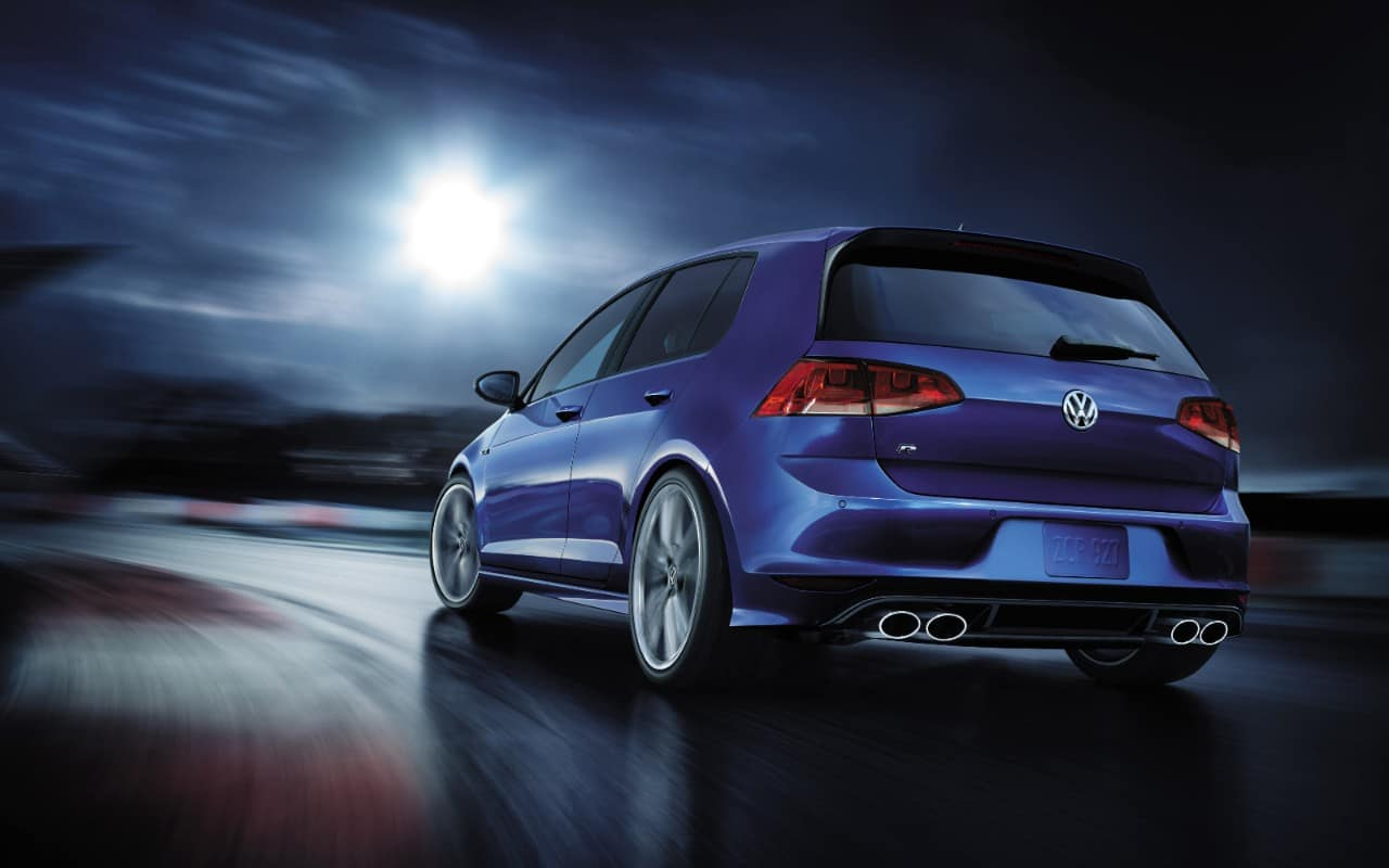 2017 Volkswagen Golf R Blue Exterior Rear View
