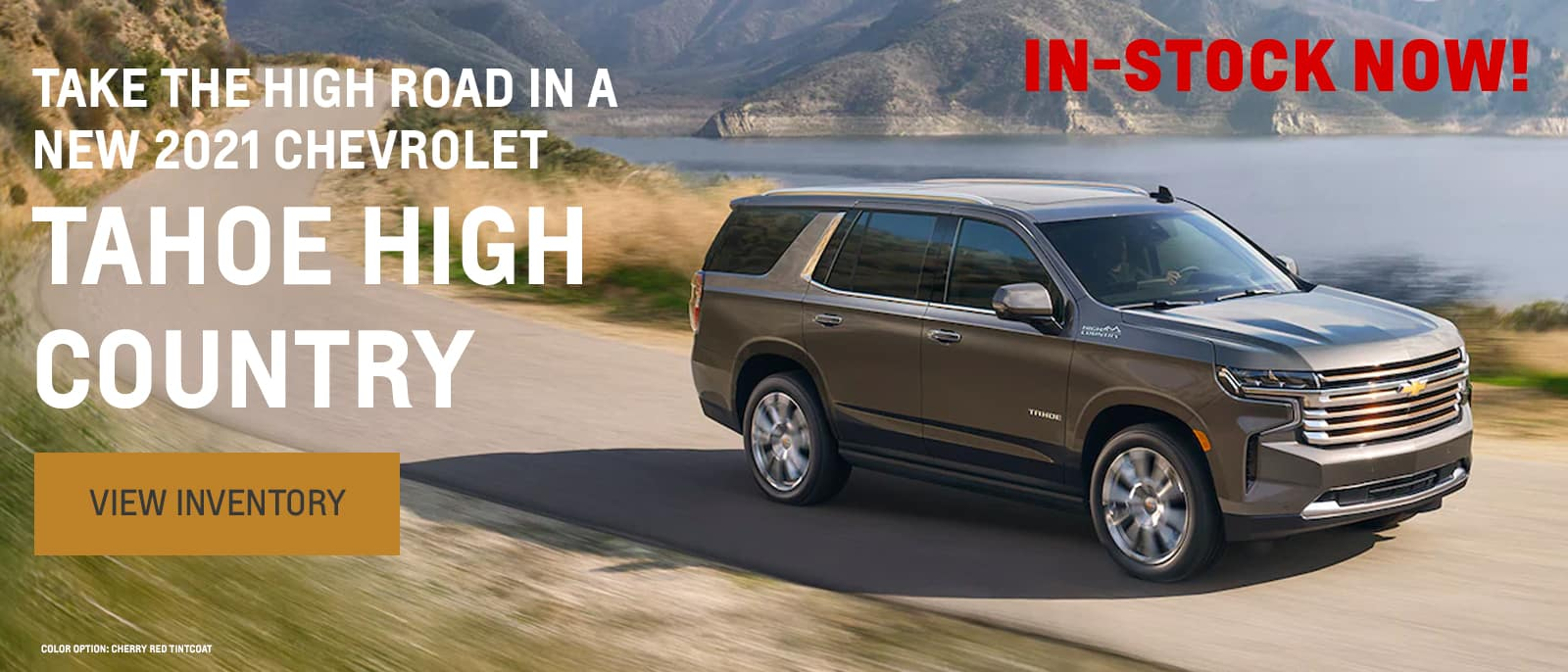 Take the high road in a New 2021 Chevrolet Tahoe High Country, Color Option: Cherry Red Tintcoat