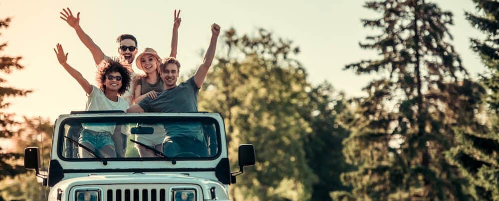 friends in classic jeep