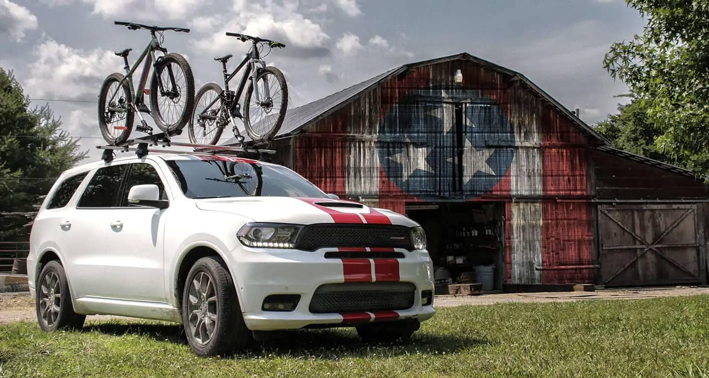 2019-dodge-durango-parked-in-front-of-shed