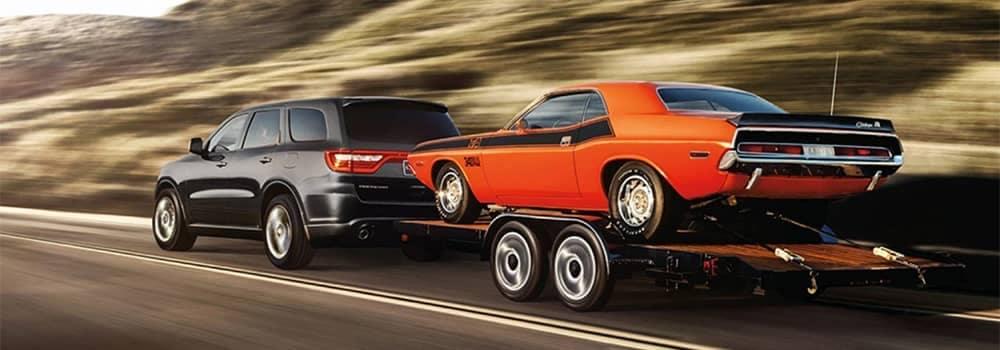2020 Dodge Durango Towing a Car Trailer