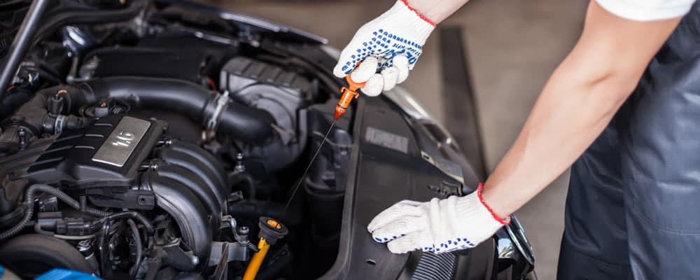 Mechanic Changing Oil Open Hood