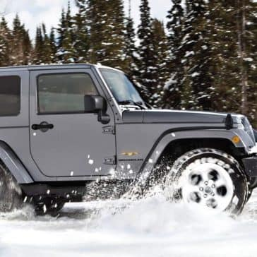 2017 Jeep Wrangler driving in snow