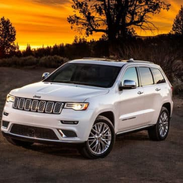2018 Jeep Grand Cherokee Parked on Side of Road at Sunset