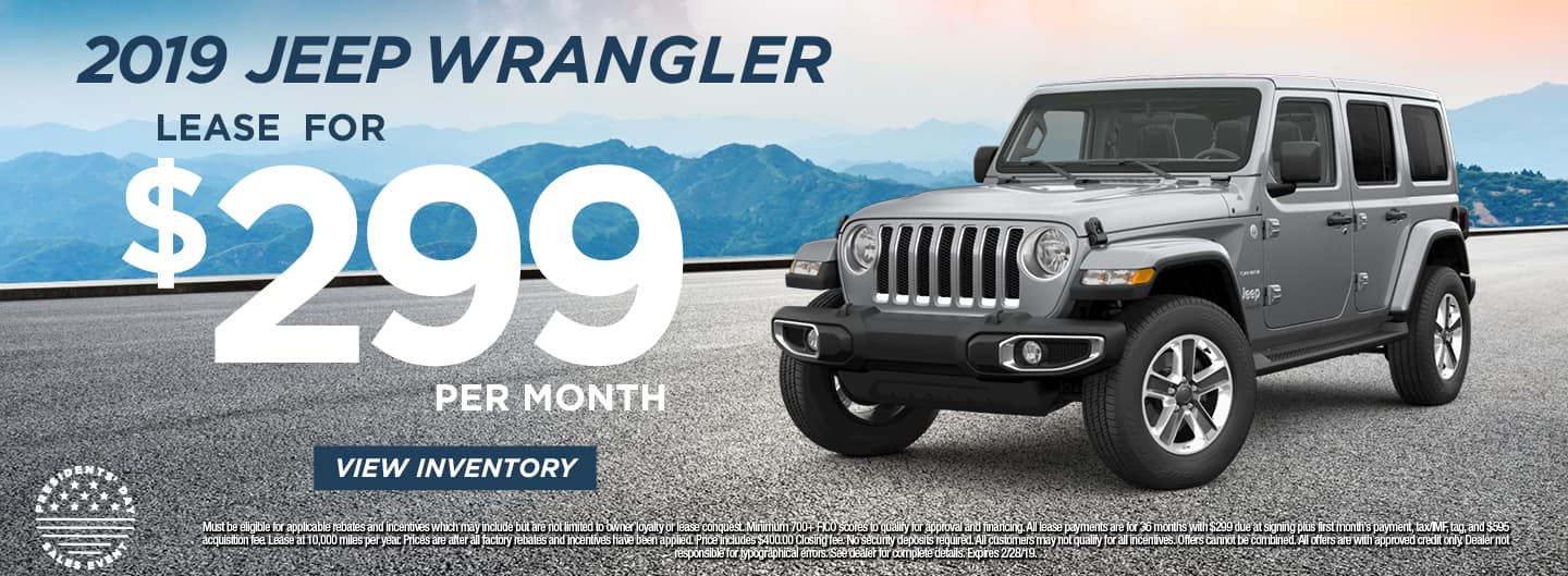 2019 Jeep Wrangler Lease for $299 per month