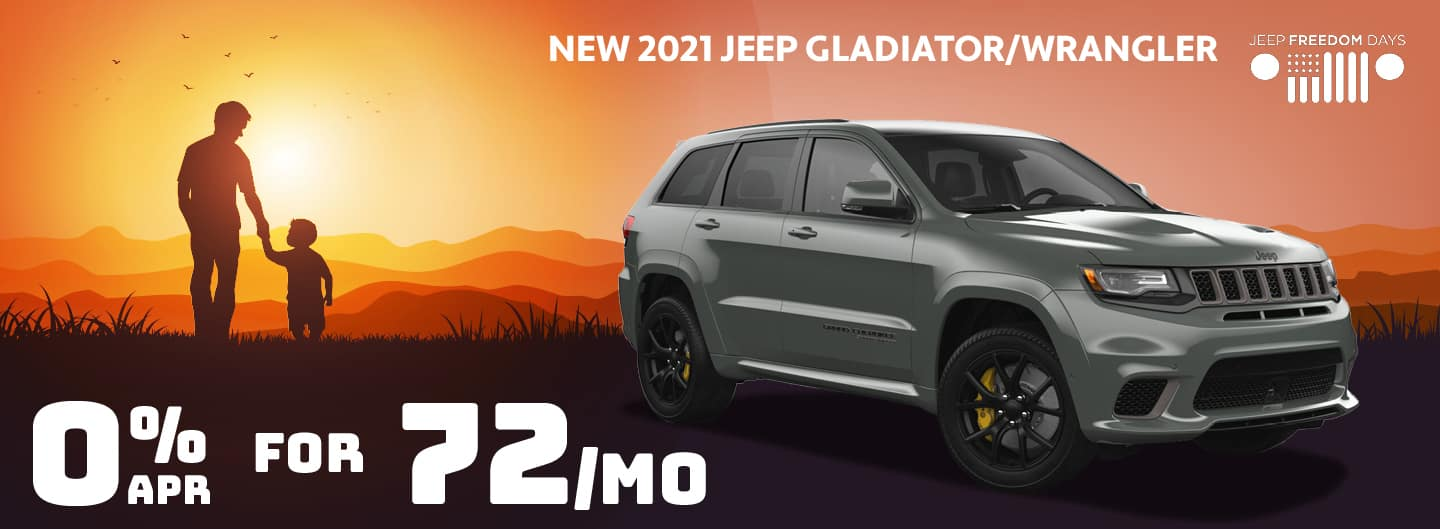 0% APR for 72 Months on Gladiator and Wrangler